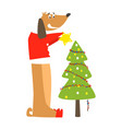 funny dog and christmas tree flat vector image