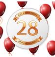 Golden number twenty eight years anniversary vector image vector image