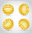 golden stripes planet on wite background vector image