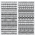 Hand drawn seamless ethnic line border set vector image vector image