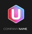 letter u logo symbol in colorful hexagonal vector image vector image