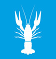 lobster icon white vector image vector image