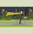 mennonite on evening bike ride in modern city vector image vector image
