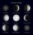 moon phases night space astronomy the whole cycle vector image