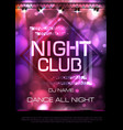 neon sign night club disco party poster vector image vector image