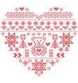 Nordic pattern in hearts shape with teddy bear vector image vector image