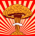 nuclear explosion in cartoon style on comic vector image vector image