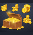 old wooden chest with gold coins vector image vector image