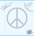 peace sign line sketch icon isolated on white vector image