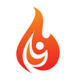 people fire life icon on white background vector image vector image