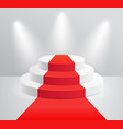podium and red carpet with spotlight vector image