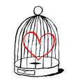 red heart is sad in birds cage funny greeting vector image