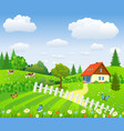 rural landscape with fields and hills vector image vector image