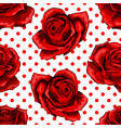 seamless pattern background with red roses vector image vector image