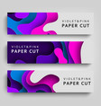 set horizontal banner paper cut paper art vector image