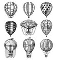 set hot air balloons retro flying vector image vector image
