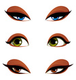 Set of blue brown and green eyes Female eyes vector image vector image