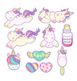 set of unicorns and different magic elements vector image vector image