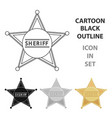 sheriff icon cartoon singe western icon from the vector image vector image