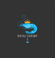 shrimp logo on black background vector image vector image