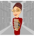smiling librarian with glasses holding books vector image vector image