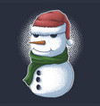snowman wearing a santa hat for christmas vector image