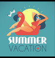 summer vacation girl on flamingo swimming circle vector image vector image