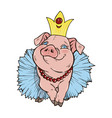 the pig princess vector image vector image