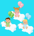 two boys and a girl sitting on clouds with vector image