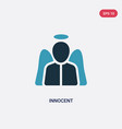 two color innocent icon from law and justice vector image vector image