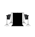 two softboxes and black photo background isolated vector image vector image