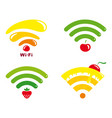 wi-fi icons with symbols of fruit and sweets vector image vector image
