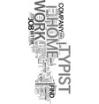 work at home typist text word cloud concept vector image vector image