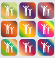 happy family icon Nine buttons with bright vector image