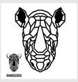 abstract linear polygonal head a rhino vector image