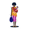african mother the baby is hugging her to make her vector image
