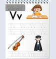 alphabet tracing worksheet with letter v and v vector image vector image