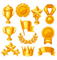 awards and trophy icons set reward items sports vector image vector image