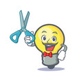 barber light bulb character cartoon vector image vector image