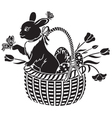 basket with the hare vector image vector image