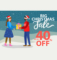 big christmas sale 40 percent off promotional vector image vector image