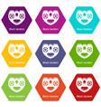 block tandem icons set 9 vector image