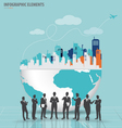Business people silhouettes with city and modern vector image