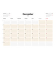 calendar planner template for 2018 year december vector image vector image