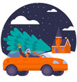 car with a christmas tree on top vector image vector image