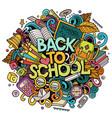 cartoon cute doodles back to school phrase vector image