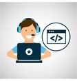 character headset laptop coding vector image