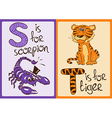 Children Alphabet with Funny Animals Scorpion and vector image vector image