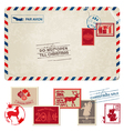 Christmas Vintage Postcard with Postage Stamps