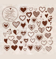 collection of doodle sketch hearts hand drawn with vector image vector image